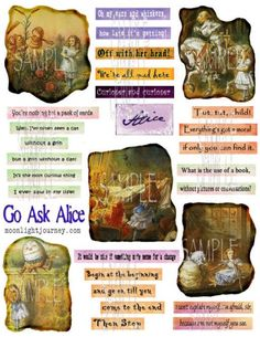 ALICE IN WONDERLAND words phrases quotes images COLLAGE SHEET  $3.00  #quotes