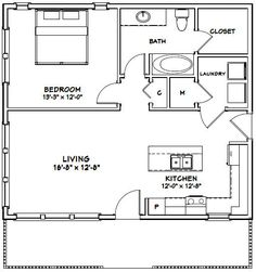 Details about 2432 House 2 Bedroom 2 Bath PDF Floor Plan 768 sq ft Model 3 The Plan, How To Plan, Building A Shed, Building Plans, Building Ideas, Small House Plans, House Floor Plans, Apartment Floor Plans, House 2