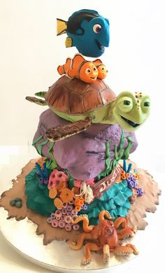 Finding dory - Cake by Dsweetcakery Dory Cake, Nemo Cake, Crazy Cakes, Fancy Cakes, Bolo Tumblr, Nautical Cake, Fantasy Cake, Sculpted Cakes, Character Cakes