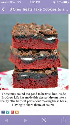 Food idea : red velvet Oreo brownies