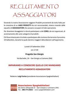 19/09 - Progetto San Giorgio - San Giorgio a Cremano (NA) - Impariamo a conoscere quello che mangiamo - Reclutamento Assaggiatori