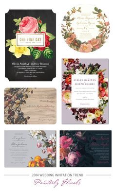 2014 Wedding Invitation Trend : Romantic, Painterly Florals
