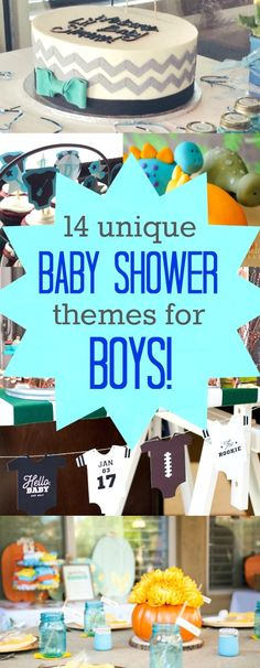 14 Super Cute and Unique Baby Shower Themes for Boys - Are you or is someone you know expecting a little boy? These unique baby shower themes for boys are super cute, we really love these boys baby shower ideas!