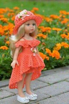 Crochet Baby Dress Pattern, Crochet Doll Dress, Baby Girl Crochet, Crochet Doll Clothes, Girl Doll Clothes, Barbie Clothes, Barbie Dolls, African Dresses For Kids, American Doll Clothes