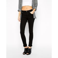 Cheap Monday Mid Rise Skinny Jean ($30) ❤ liked on Polyvore featuring jeans, black jeans, black, skinny jeans, denim skinny jeans, zipper skinny jeans, skinny fit jeans and high rise jeans