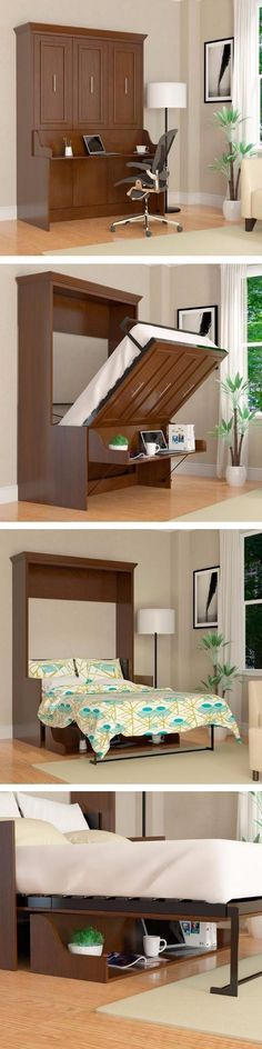 The Porter full wall bed with a desk built in is a truly unique and versatile piece. Wish you could have a home office but still keep that room available and ready for guests, then the Porter full wall bed with desk is your solution.