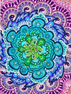 Mystic Mandala Print Psychedelic Green Blue by PaintMyWorldRainbow, $15.00