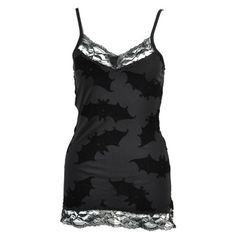 black lace trim bat tank cami ... make something similar from batty Halloween lace and bleach or dye spraying?