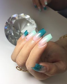 Perfect Nails, Gorgeous Nails, Love Nails, Pretty Nails, Blue Acrylic Nails, Acrylic Nail Designs, Nail Art Designs, Nail Salon Design, Nail Art Rhinestones