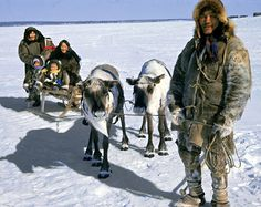 Evenks from the town of Yessei in the Evenk Autonomous Area above the Arctic Circle