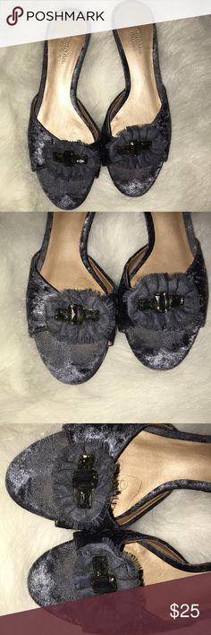 Simply Vera Vera Wang floral gray slip ons Simply Vera Vera Wang floral gray slip ons Simply Vera Vera Wang Shoes Mules & Clogs