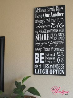 Personalized Family Rules Sign by asuniqueasyou on Etsy, $40.00