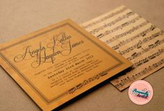 'Serenade' Wedding invitations by Personally Invited. Limited edition Australian made 'Liquid Gold' card stock exclusive to Personally Invited! This design features an elegant script typeface with vintage music notes giving it a formal and classic feel. Available for purchase now at www.perosnallyinvited.com.au