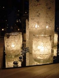 Lace, mod podge, and a tea light  Trying to find center piece ideas and I love this! Cut the lace out by following the design...hmmmm