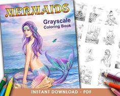 Printable Digital PDF- Mermaids. Grayscale  Coloring book. (Adult Coloring, Coloring book grayscale . INSTANT DOWNLOAD )
