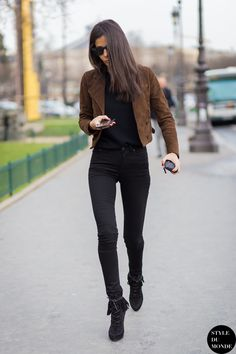 black & brown Saint Laurent & Balmain combo. Babs being her awesome self in Paris. #BarbaraMartelo
