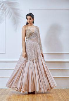 Dusty pink georgette lehenga with attached net embellished dupatta & jute flower embellished blouse. Indian Bridal Outfits, Indian Designer Outfits, Indian Dresses, Designer Dresses, Indian Clothes, Lehnga Dress, Lehenga Choli, Anarkali, Sarees