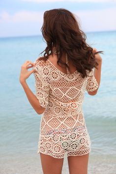 Crochet Cover Up Dress - The Gypsy Beach Cover Up can also be worn off one shoulder! This is the perfect bikini coverup crochet dress for a hot day at the beach. FREE SHIPPING!! Scoop Neck  Nude / Off White Dress.1/2 length sleeves.Bust: 96cm / Sleeves: 47cm / Length: 87cm. #coverup #crochetcoverup #bikinicoverup