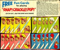 vintage cereal prizes | Old Set Of Rice Krispies Cereal Premium / Prize Snap - Crackle - Pop ... Play Number, Snap Crackle Pop, General Mills, Cereal Boxes, Cracker Jacks, Gumball Machine, Breakfast Cereal, Ol Days, Good Ol