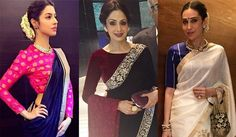 For Sridevi it was a beautiful Manish Malhotra saree in shades of black and white. She styled her Kashmiri handwork saree with a deep maroon velvet blouse and finished her look with a matching clutch and shawl.