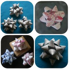 """DIY gift bows.  I never buy wrapping paper...I prefer to wrap gifts using paper shopping bags from nice stores, brown paper bags from the grocery store, the tissue paper that sometimes comes from Sephora or VS (it's always a pretty colour), or the coloured Sunday """"funnies"""" pages from the newspaper.  This is just one more cost-saving tip for beautiful and unique gift wrapping!"""