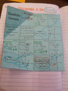 Math = Love: The Discriminant Is Our Friend! - Foldable for the discriminant, Quadratics