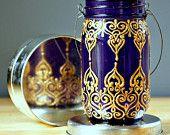 Hand Painted Mason Jar Lantern, Royal Purple Glass with Golden Detailing by LITdecor at etsy.com