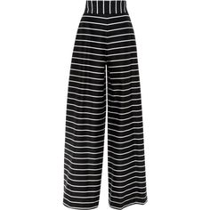 Cotton Thin Stripe Wide Leg Trouser | Moda Operandi (4.500 RON) ❤ liked on Polyvore featuring pants, bottoms, trousers, highwaist pants, horizontal striped pants, wide leg pants, cotton pants and wide leg trousers