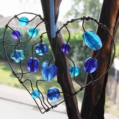 Blue Heart - a beaded suncatcher glass beads: http://www.ecrafty.com/c-2-glass-beads.aspx