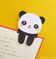 How to make DIY kawaii bookmarks - Ayelet Keshet - kawaii DIY bookmark – cute panda You are in the right place about diy crafts Here we offer you th - Creative Bookmarks, Cute Bookmarks, Bookmark Craft, How To Make Bookmarks, Origami Bookmark, Diy Kawaii, Panda Craft, Panda Gifts, Panda Party