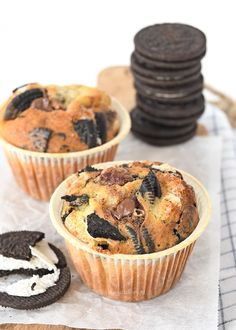 Oreo-Nutella muffins (Laura's Bakery) Nutella Brownies, Nutella Snacks, Nutella Muffins, Nutella Cupcakes, Nutella Recipes, Oreo Cupcakes, Cupcake Cakes, Cakepops, Muffin Recipes