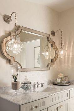 Moroccan Inspired Silver Bathroom Mirror