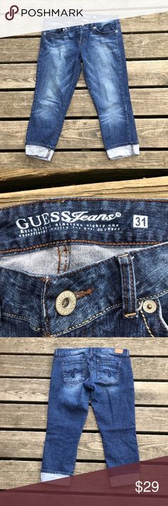 Guess whisker fade cuffed denim Capri jeans Size 31. Guess capris with cuffed hems. 5 pocket detailing. Cotton, spandex. EUC Guess Jeans Ankle & Cropped