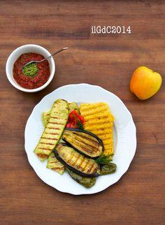 il giardino dei ciliegi: Pausa pranzo: Verdure e fette di polenta grigliate, passata di pomodoro e salsa al basilico
