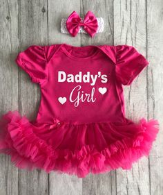 M Clothes Set for Infant Toddlers Birthday Valentines Day Mother Baby Girls Fathers Day Outfits Super Dad Romper Pink Tutu Skirt with Sequined Headband