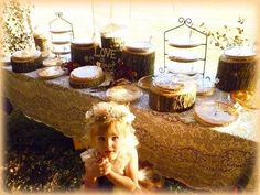 Pie table ! Pies from Sweetie pie bakery in Poland NY! 3 tiered racks with tree stumps for various heights - perfect !