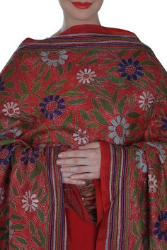 Red Multi-Colour Hand Embroidered Kantha Pure Silk Dupatta