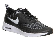 factory price 88253 63220 Nike Air Max Thea Black White Jacquard - Hers trainers Lace Sneakers, Air  Max Sneakers