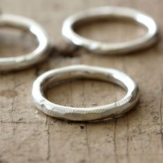 Distressed stacking rings from Praxis Jewelry. Moonstone Jewelry, Gems Jewelry, Jewelery, Silver Jewelry, Silver Rings, Three Rings, One Ring, Stylish Rings, Stacking Rings