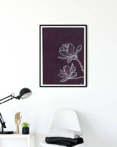 Magnolia Paint, Gouache Painting, Magnolias, Botanical Art, Line Drawing, Modern Art, Photo And Video, Wall Art, Interior Design