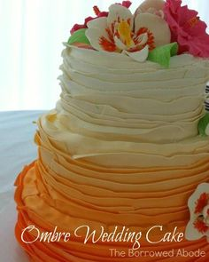 Sunset Ombre Ruffle Wedding Cake