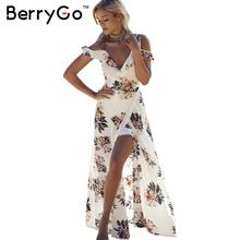 Berrygo estampado floral gasa de las colmenas vestidos maxi correa de cuello v de split beach summer dress sexy mujeres backless dress vestidos largos(China (Mainland))