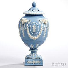 Wedgwood Solid Light Blue Jasper Potpourri Vase and Covers
