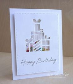 Popping in with a card using Simon Says Stamps Pile of Gifts die. I got this die because I knew I could make quick, clean and simple sh...