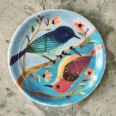 Love this plate!   Great juxtaposition of birds.