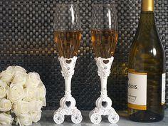 Enchanted wedding coach toasting flutes set