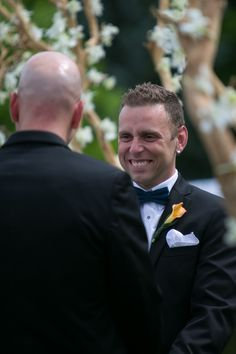 The Ceremony in the Perennial Border at Toronto Botanical Garden #Toronto #Gay #Garden #Wedding