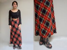 ae21f6590 TARTAN PLAID Skirt . Vintage 70s High Waisted Skirt . Wool Maxi Skirt .  1970s Red Plaid Skirt . Wool Plaid Skirt . A-Line Long Skirt
