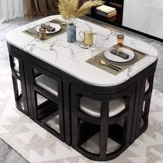 Unique Dining Tables To Make The Space Spectacular - Engineering Discoveries Space Saving Dining Table, Table For Small Space, Space Saving Furniture, Small Dining, Dining Room Sets, Latest Dining Table Designs, Dinning Table Design, Unique Dining Tables, Kitchen Room Design
