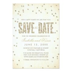 Confetti Save The Date Wedding Cards Gold Glitter Look Confetti Dots Save the Date Card